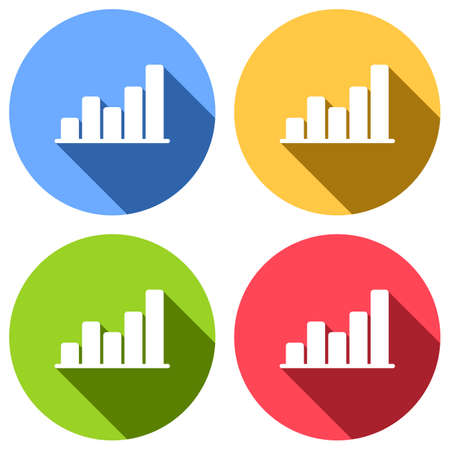 Finance grapgic, grow. Set of white icons with long shadow on blue, orange, green and red colored circles. Sticker style