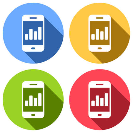 Finance graphic, mobile phone. Set of white icons with long shadow on blue, orange, green and red colored circles. Sticker style Ilustrace