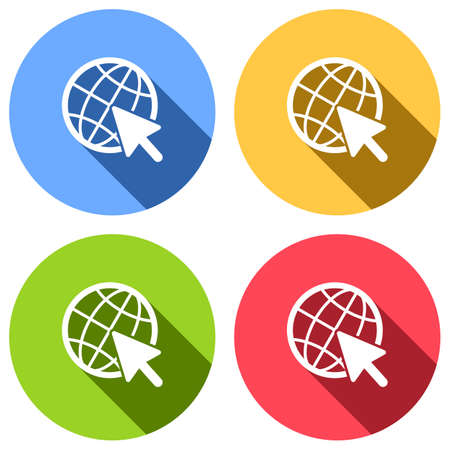 Globe and arrow icon. Set of white icons with long shadow on blue, orange, green and red colored circles. Sticker style Çizim
