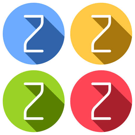 Number 2, numeral, two. Set of white icons with long shadow on blue, orange, green and red colored circles. Sticker style