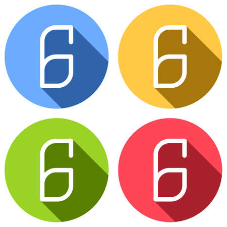 Number 6, numeral, sixth. Set of white icons with long shadow on blue, orange, green and red colored circles. Sticker style Illustration