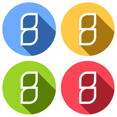 Number 8, numeral, eighth. Set of white icons with long shadow on blue, orange, green and red colored circles. Sticker style
