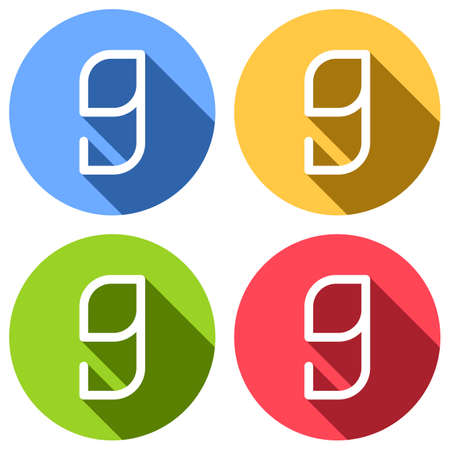 Number 9, numeral, ninth. Set of white icons with long shadow on blue, orange, green and red colored circles. Sticker style