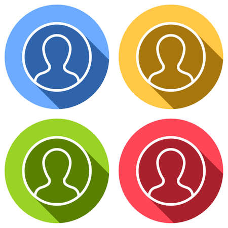 Profile, person in circle. Set of white icons with long shadow on blue, orange, green and red colored circles. Sticker style