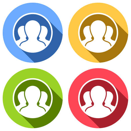 Team in circle, few person. Set of white icons with long shadow on blue, orange, green and red colored circles. Sticker style