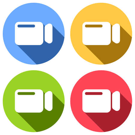 Simple video camera icon. Set of white icons with long shadow on blue, orange, green and red colored circles. Sticker style