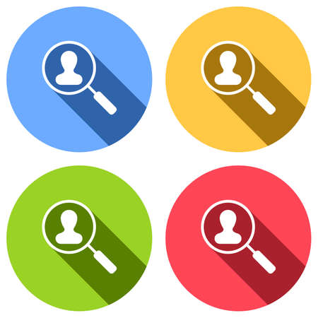 Human resource icon. person symbol in magnifying glass. Search profile. Set of white icons with long shadow on blue, orange, green and red colored circles. Sticker style Imagens - 121822530