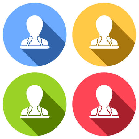Speaker icon. Person silhouette and microphones on tribune. Set of white icons with long shadow on blue, orange, green and red colored circles. Sticker style
