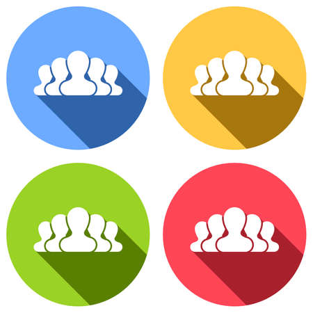 Team, few person. Set of white icons with long shadow on blue, orange, green and red colored circles. Sticker style Ilustrace