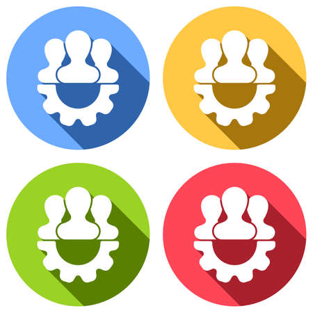 Team, technical support, few person and gear. Set of white icons with long shadow on blue, orange, green and red colored circles. Sticker style