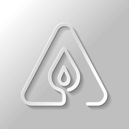 fire flame in warning triangle. linear symbol with thin outline. one line style. simple icon. Paper style with shadow on gray background Illustration