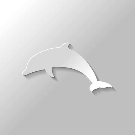 silhouette of dolphin. Paper style with shadow on gray background 矢量图像
