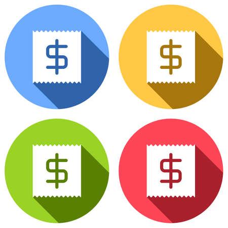 Receipt with dollar symbol. Set of white icons with long shadow on blue, orange, green and red colored circles. Sticker style Imagens - 121822532