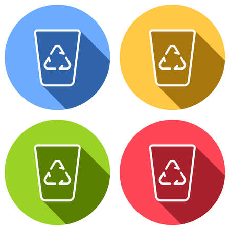 Recucle bin, reuse symbol on backet. Linear, thin outline. Set of white icons with long shadow on blue, orange, green and red colored circles. Sticker style Imagens - 121822533