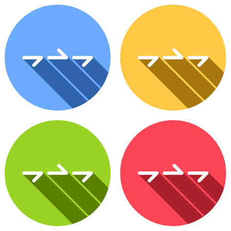 Few arrows, same direction. Linear, thin outline. Set of white icons with long shadow on blue, orange, green and red colored circles. Sticker style