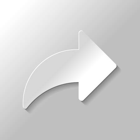 Share icon with arrow. Paper style with shadow on gray background