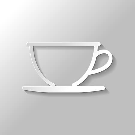 Simple cup of coffee or tea. Linear icon, thin outline. Paper style with shadow on gray background Фото со стока - 103144212