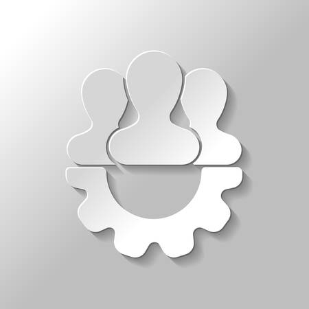 Team, technical support, few person and gear. Paper style with shadow on gray background