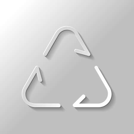 Recycle or reuse icon. Thin arrows, linear style. Paper style with shadow on gray background