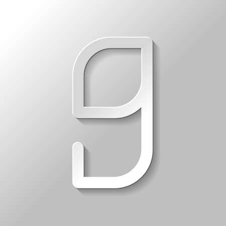 Number 9, numeral, ninth. Paper style with shadow on gray background Illustration