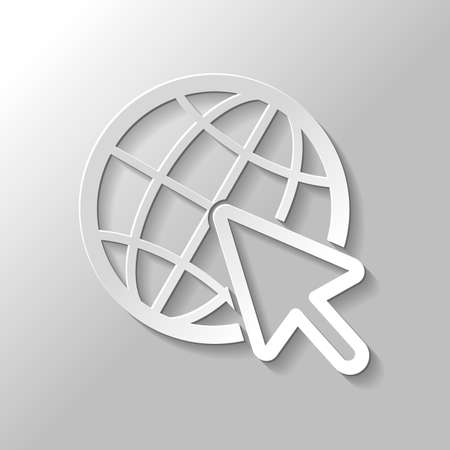 Globe and arrow icon. Paper style with shadow on gray background