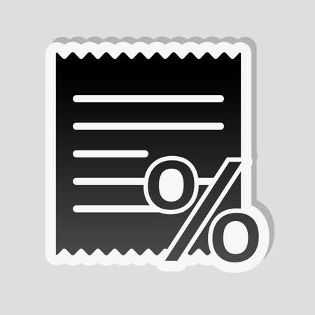 Receipt and percent. Sticker style with white border and simple shadow on gray background
