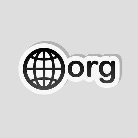 uno de los primeros dominios para organizaciones sin fines de lucro, mundo y org. Estilo de etiqueta con borde blanco y sombra simple sobre fondo gris