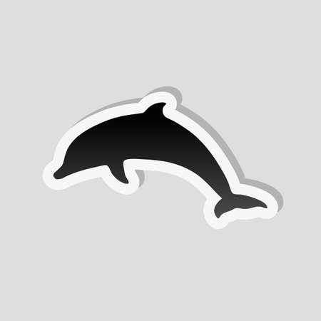 silhouette of dolphin. Sticker style with white border and simple shadow on gray background Stock Illustratie