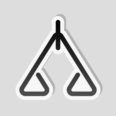 abstract icon or logo of scale. Sticker style with white border and simple shadow on gray background