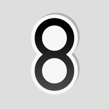 Number eight, numeral, simple letter. Sticker style with white border and simple shadow on gray background