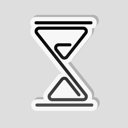 hourglass, one line, outline symbol. Sticker style with white border and simple shadow on gray background