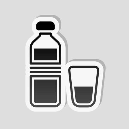 bottle of water and glass cup. simple icon. Sticker style with white border and simple shadow on gray background