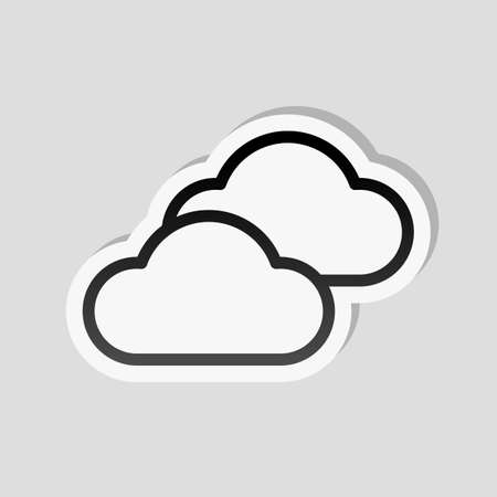 Mostly cloudy icon. Simple linear icon with thin outline. Sticker style with white border and simple shadow on gray background