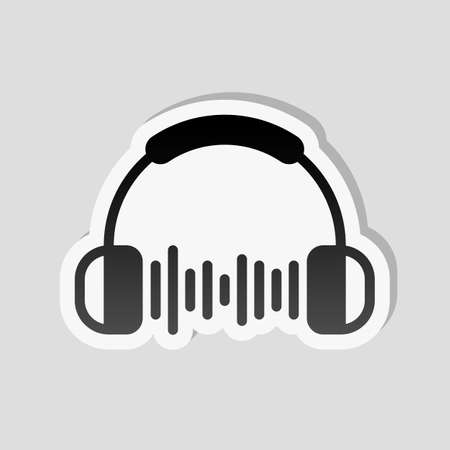 Headphones and music wave. Max volume level. Simple icon. Sticker style with white border and simple shadow on gray background