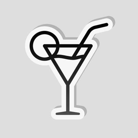 Coctail glass. Simple linear icon with thin outline. Sticker style with white border and simple shadow on gray background