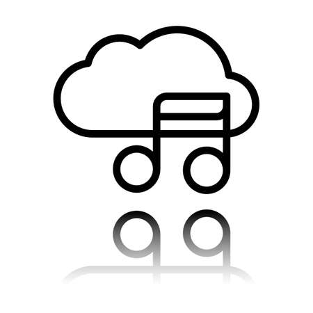 Simple icon with cloud and musical note. Linear symbol, thin outline. Black icon with mirror reflection on white background