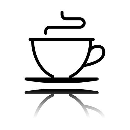 Simple cup of coffee or tea. Linear icon, thin outline. Black icon with mirror reflection on white background