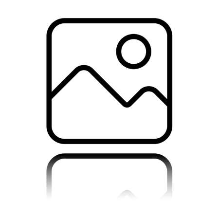 Simple picture icon. Linear symbol, thin outline. Black icon with mirror reflection on white background Illustration