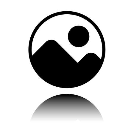 Simple picture icon. Black icon with mirror reflection on white background