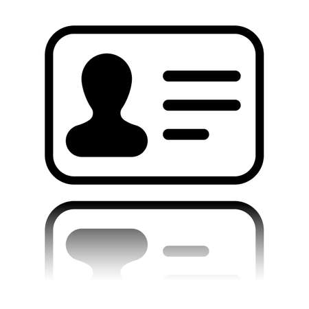 Identification card icon. ID profile. Black icon with mirror reflection on white background