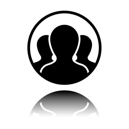 Team in circle, few person. Black icon with mirror reflection on white background