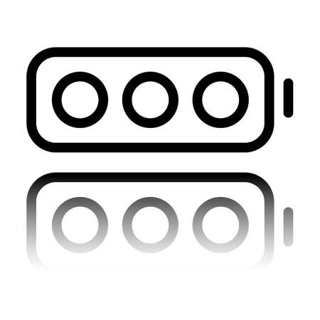Simple empty battery, none level. Black icon with mirror reflection on white background