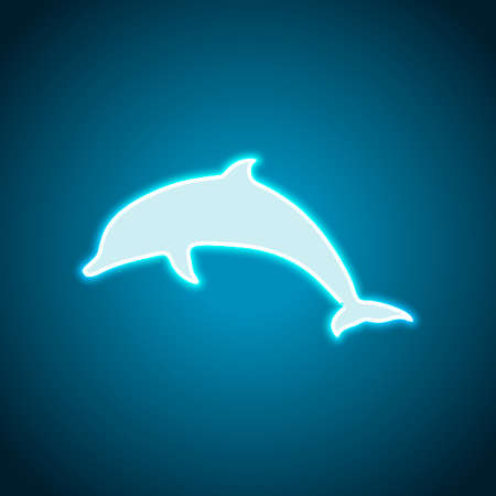 silhouette of dolphin. Neon style. Light decoration icon. Bright electric symbol Illustration