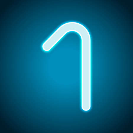 Number one, numeral, simple letter. Neon style. Light decoration icon. Bright electric symbol