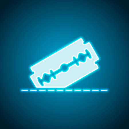 razor blade and cutting line. simple single icon. Neon style. Light decoration icon. Bright electric symbol