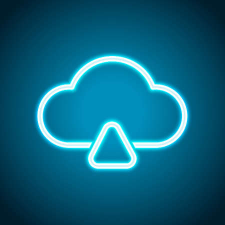 outline upload simple cloud icon. linear symbol with thin outline. Neon style. Light decoration icon. Bright electric symbol Vektorgrafik