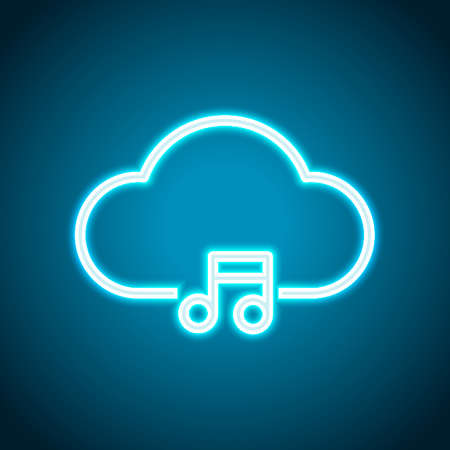 Cloud music library, striming. Simple linear icon with thin outline. Neon style. Light decoration icon. Bright electric symbol Vettoriali