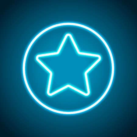 star in circle icon. Neon style. Light decoration icon. Bright electric symbol