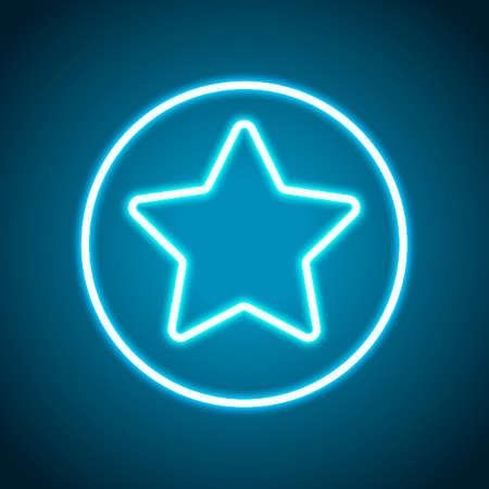 star in circle icon. Neon style. Light decoration icon. Bright electric symbol