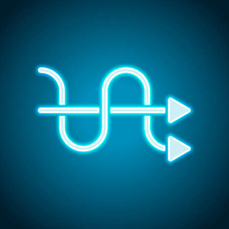 crossed arrows. simple silhouette. Neon style. Light decoration icon. Bright electric symbol Vettoriali